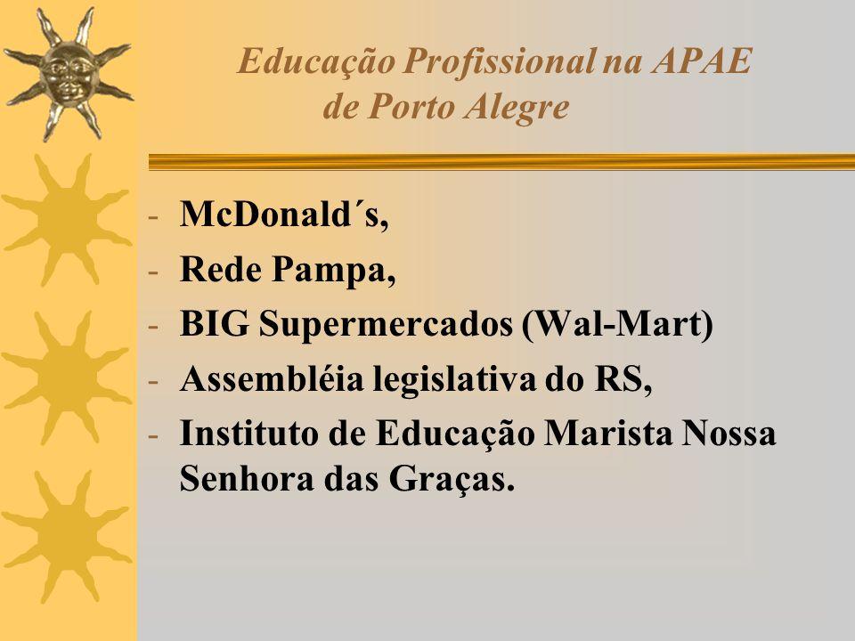 Educação Profissional na APAE de Porto Alegre - McDonald´s, - Rede Pampa, - BIG Supermercados (Wal-Mart) - Assembléia legislativa do RS, - Instituto d