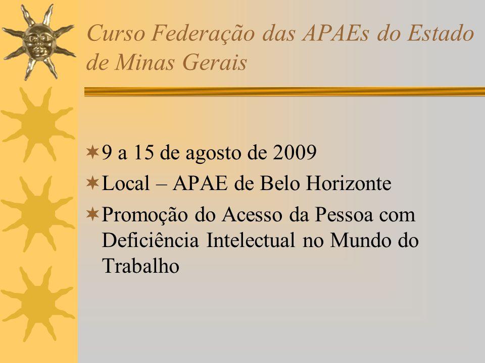 Curso Federação das APAEs do Estado de Minas Gerais 9 a 15 de agosto de 2009 Local – APAE de Belo Horizonte Promoção do Acesso da Pessoa com Deficiênc
