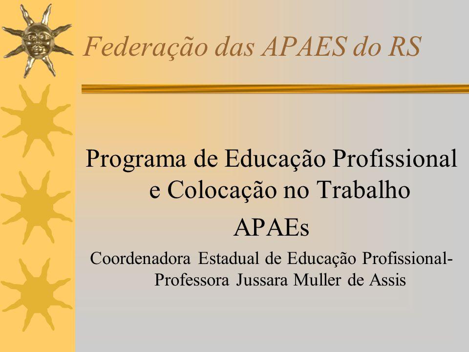 Federação das APAES do RS Programa de Educação Profissional e Colocação no Trabalho APAEs Coordenadora Estadual de Educação Profissional- Professora J