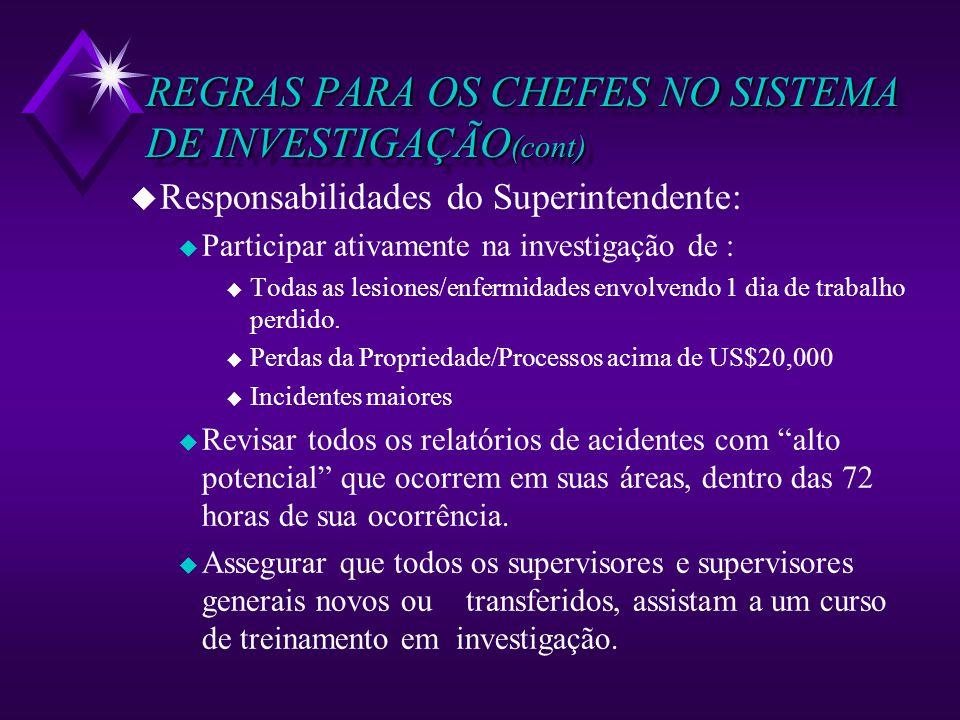 REGRAS PARA OS CHEFES NO SISTEMA DE INVESTIGAÇÃO (cont) u Responsabilidades do Superintendente: u Participar ativamente na investigação de : u Todas a