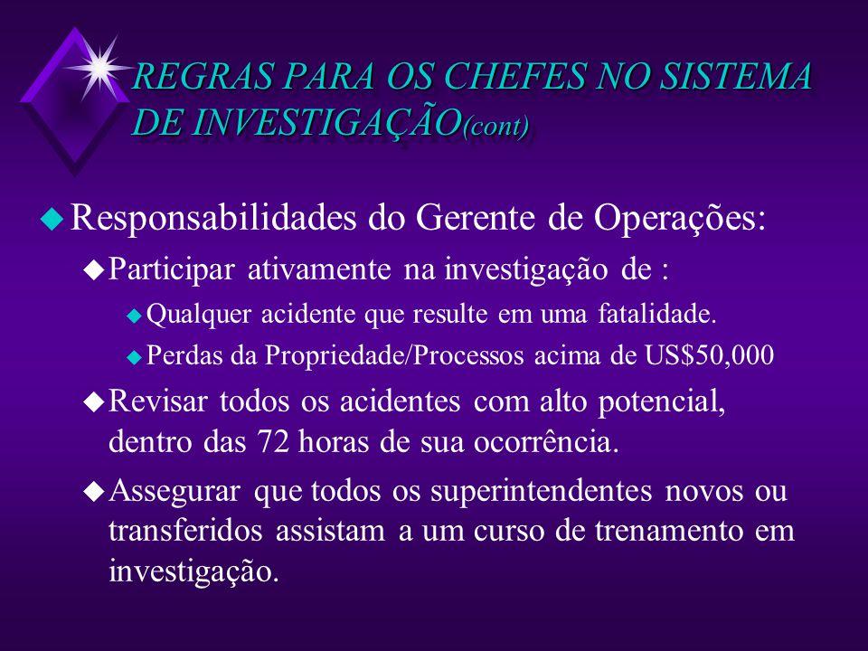REGRAS PARA OS CHEFES NO SISTEMA DE INVESTIGAÇÃO (cont) u Responsabilidades do Gerente de Operações: u Participar ativamente na investigação de : u Qu
