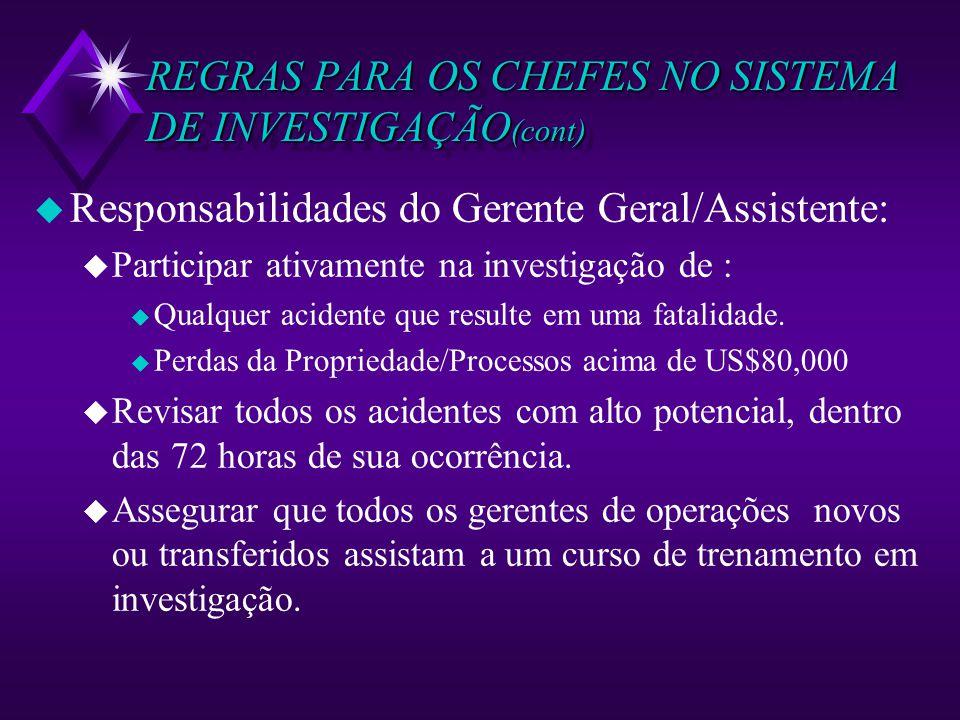 REGRAS PARA OS CHEFES NO SISTEMA DE INVESTIGAÇÃO (cont) u Responsabilidades do Gerente Geral/Assistente: u Participar ativamente na investigação de :