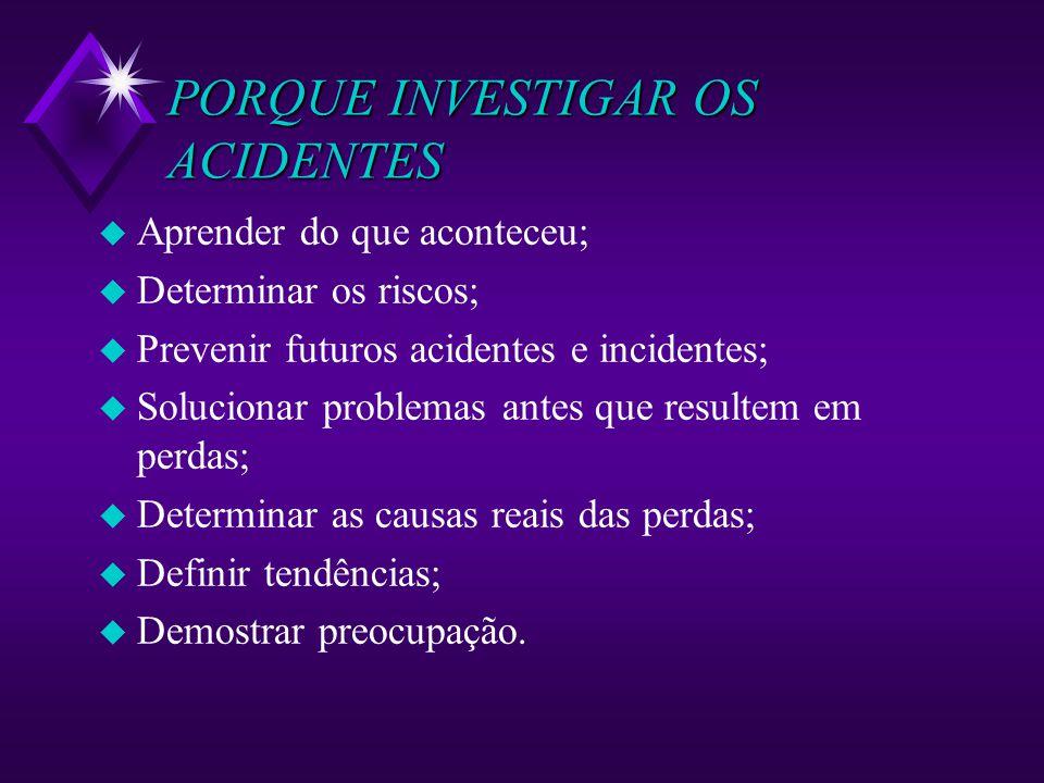 PORQUE INVESTIGAR OS ACIDENTES u Aprender do que aconteceu; u Determinar os riscos; u Prevenir futuros acidentes e incidentes; u Solucionar problemas