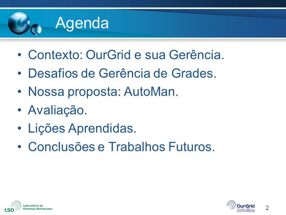 2 Agenda Contexto: OurGrid e sua Gerência. Desafios de Gerência de Grades. Nossa proposta: AutoMan. Avaliação. Lições Aprendidas. Conclusões e Trabalh