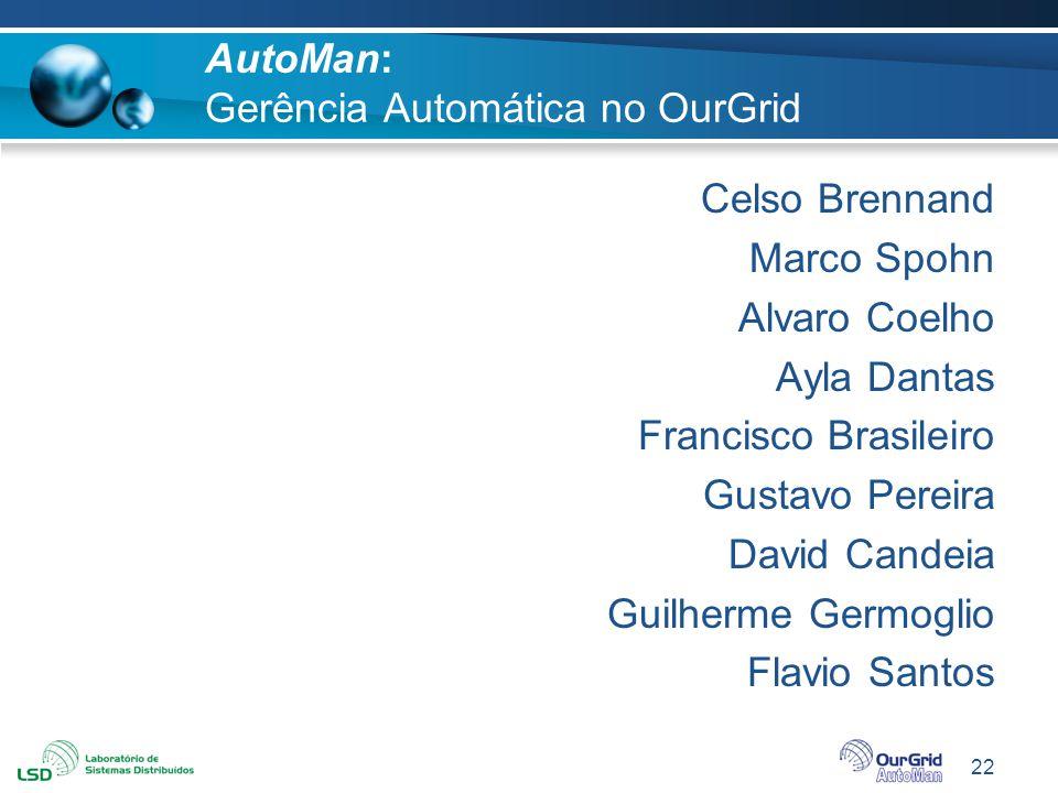 22 AutoMan: Gerência Automática no OurGrid Celso Brennand Marco Spohn Alvaro Coelho Ayla Dantas Francisco Brasileiro Gustavo Pereira David Candeia Gui