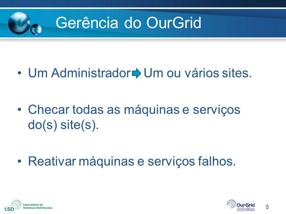 5 Gerência do OurGrid Um Administrador Um ou vários sites. Checar todas as máquinas e serviços do(s) site(s). Reativar máquinas e serviços falhos.