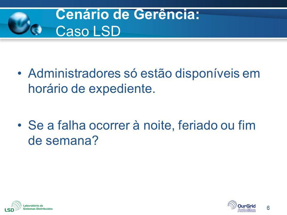 6 Cenário de Gerência: Caso LSD Administradores só estão disponíveis em horário de expediente. Se a falha ocorrer à noite, feriado ou fim de semana?