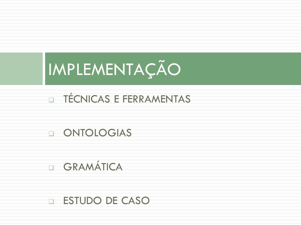TÉCNICAS E FERRAMENTAS ONTOLOGIAS GRAMÁTICA ESTUDO DE CASO IMPLEMENTAÇÃO