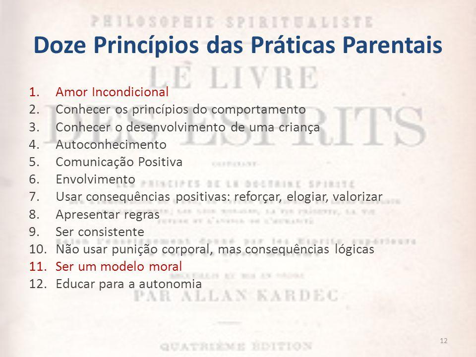 Doze Princípios das Práticas Parentais 12 1.Amor Incondicional 2.Conhecer os princípios do comportamento 3.Conhecer o desenvolvimento de uma criança 4