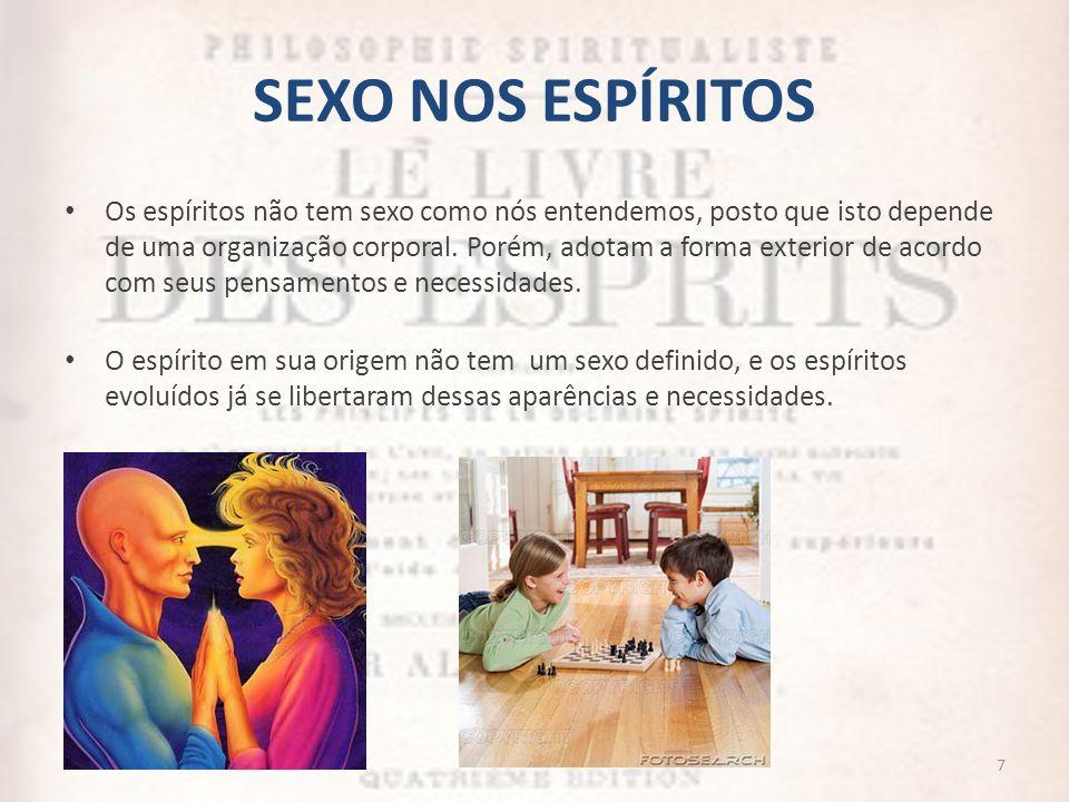 SEXO NOS ESPÍRITOS Os espíritos não tem sexo como nós entendemos, posto que isto depende de uma organização corporal. Porém, adotam a forma exterior d