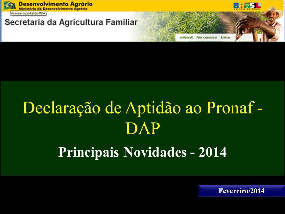 Declaração de Aptidão ao Pronaf - DAP Principais Novidades - 2014 Fevereiro/2014