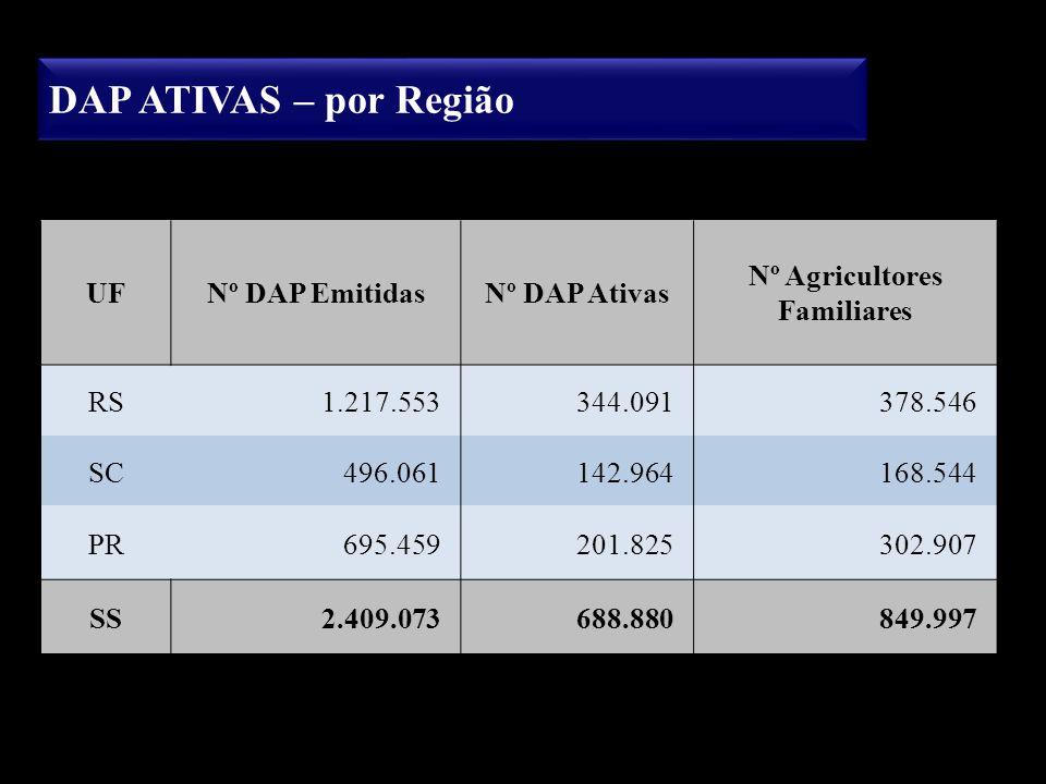 DAP ATIVAS – por Região UFNº DAP EmitidasNº DAP Ativas Nº Agricultores Familiares RS1.217.553344.091378.546 SC496.061142.964168.544 PR695.459201.82530