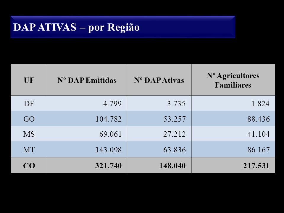 DAP ATIVAS – por Região UFNº DAP EmitidasNº DAP Ativas Nº Agricultores Familiares DF4.7993.7351.824 GO104.78253.25788.436 MS69.06127.21241.104 MT143.0