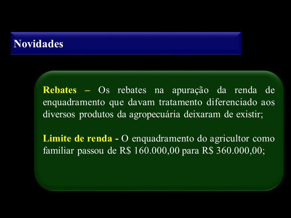 Novidades Rebates – Os rebates na apuração da renda de enquadramento que davam tratamento diferenciado aos diversos produtos da agropecuária deixaram