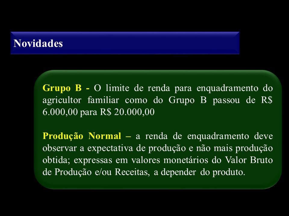 Novidades Grupo B - O limite de renda para enquadramento do agricultor familiar como do Grupo B passou de R$ 6.000,00 para R$ 20.000,00 Produção Norma