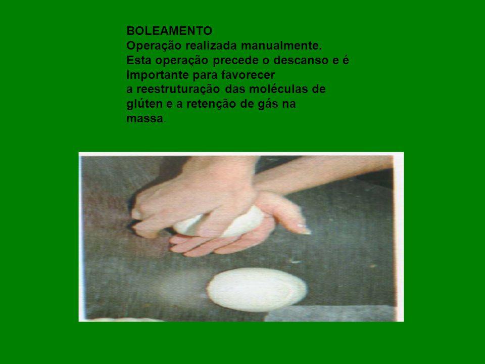 BOLEAMENTO Operação realizada manualmente. Esta operação precede o descanso e é importante para favorecer a reestruturação das moléculas de glúten e a