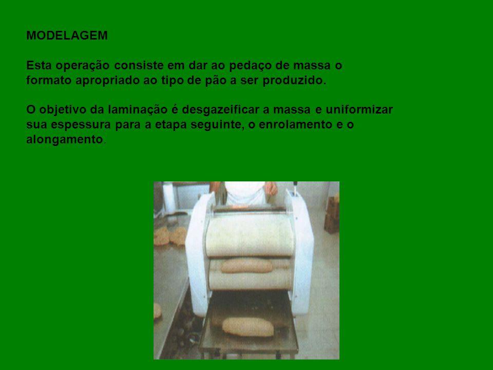 MODELAGEM Esta operação consiste em dar ao pedaço de massa o formato apropriado ao tipo de pão a ser produzido. O objetivo da laminação é desgazeifica
