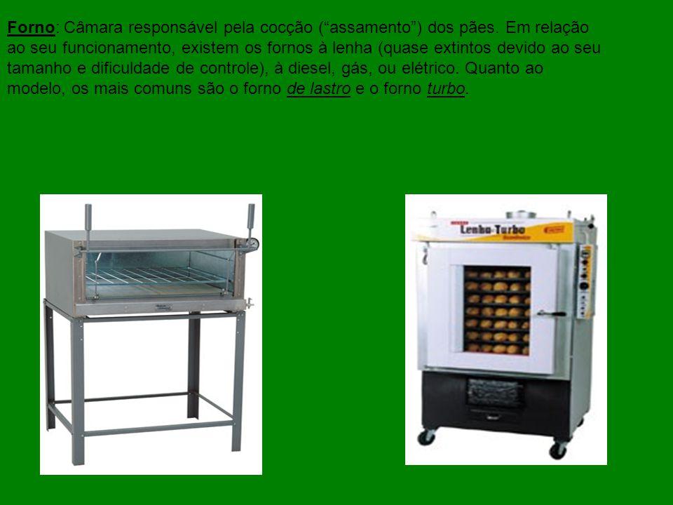Forno: Câmara responsável pela cocção (assamento) dos pães. Em relação ao seu funcionamento, existem os fornos à lenha (quase extintos devido ao seu t