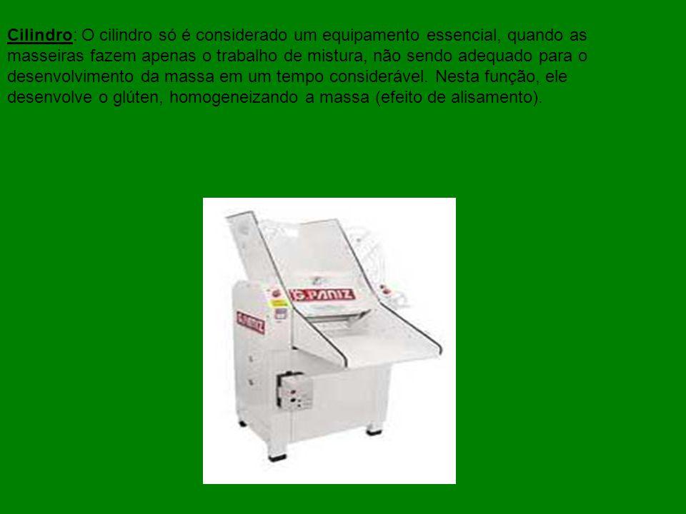 Cilindro: O cilindro só é considerado um equipamento essencial, quando as masseiras fazem apenas o trabalho de mistura, não sendo adequado para o dese