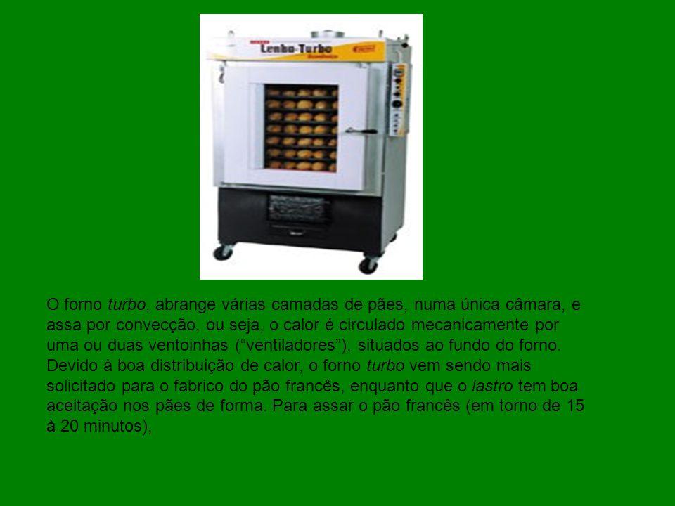O forno turbo, abrange várias camadas de pães, numa única câmara, e assa por convecção, ou seja, o calor é circulado mecanicamente por uma ou duas ven