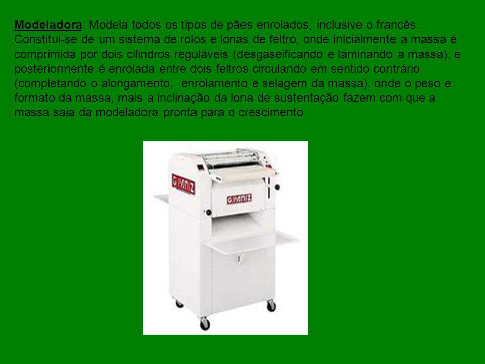 Modeladora: Modela todos os tipos de pães enrolados, inclusive o francês. Constitui-se de um sistema de rolos e lonas de feltro, onde inicialmente a m