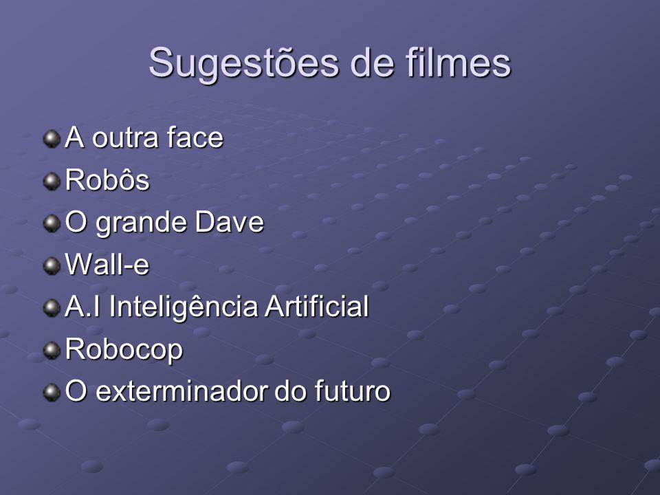 Sugestões de filmes A outra face Robôs O grande Dave Wall-e A.I Inteligência Artificial Robocop O exterminador do futuro