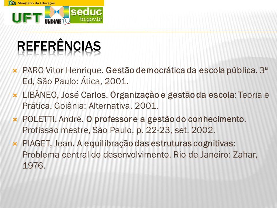 PARO Vitor Henrique. Gestão democrática da escola pública. 3ª Ed, São Paulo: Ática, 2001. LIBÂNEO, José Carlos. Organização e gestão da escola: Teoria