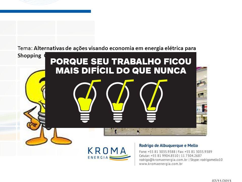 Tema: Alternativas de ações visando economia em energia elétrica para Shopping Centers 07/11/2013