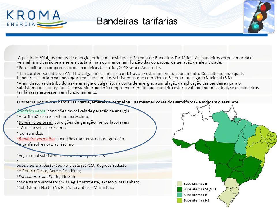 Bandeiras tarifarias A partir de 2014, as contas de energia terão uma novidade: o Sistema de Bandeiras Tarifárias. As bandeiras verde, amarela e verme