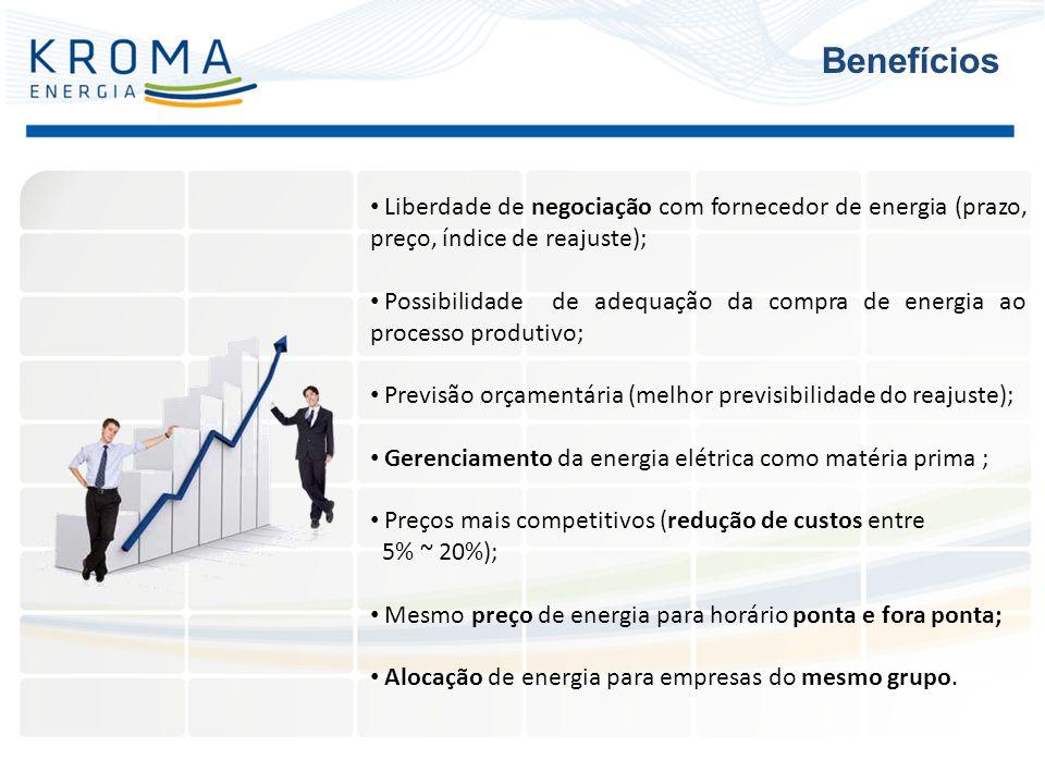 Liberdade de negociação com fornecedor de energia (prazo, preço, índice de reajuste); Possibilidade de adequação da compra de energia ao processo prod