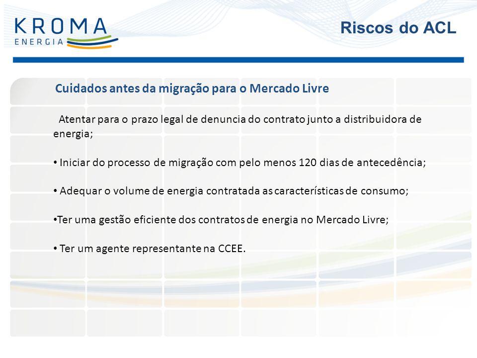 Atentar para o prazo legal de denuncia do contrato junto a distribuidora de energia; Iniciar do processo de migração com pelo menos 120 dias de antece