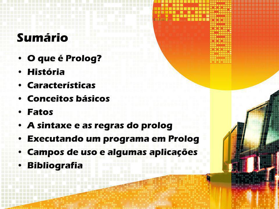 Sumário O que é Prolog? História Características Conceitos básicos Fatos A sintaxe e as regras do prolog Executando um programa em Prolog Campos de us