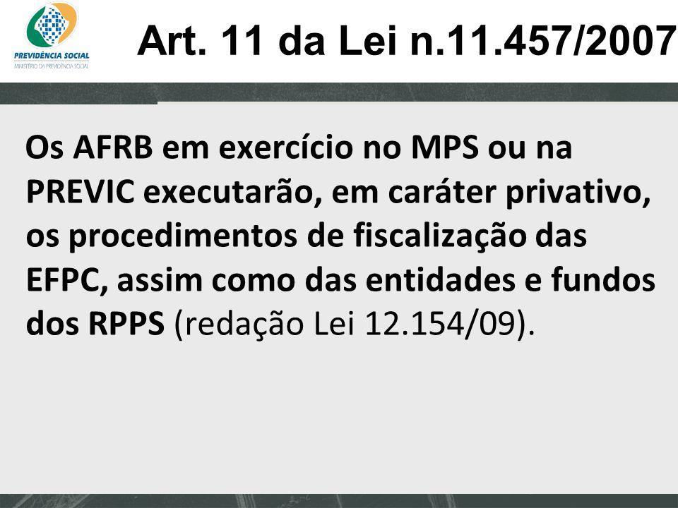 Clique para editar o estilo do subtítulo mestre 06/06/13 Art. 11 da Lei n.11.457/2007 Os AFRB em exercício no MPS ou na PREVIC executarão, em caráter
