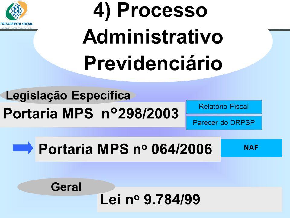 Clique para editar o estilo do subtítulo mestre 06/06/13 4) Processo Administrativo Previdenciário Portaria MPS n o 064/2006 Portaria MPS n°298/2003 R