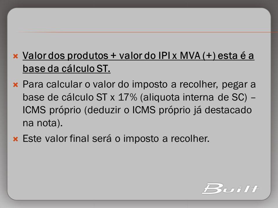 Valor dos produtos + valor do IPI x MVA (+) esta é a base da cálculo ST. Para calcular o valor do imposto a recolher, pegar a base de cálculo ST x 17%
