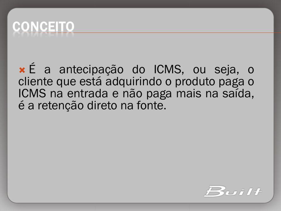 É a antecipação do ICMS, ou seja, o cliente que está adquirindo o produto paga o ICMS na entrada e não paga mais na saída, é a retenção direto na font