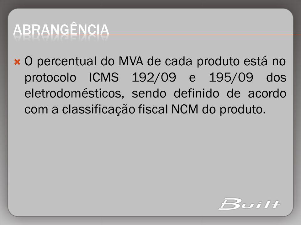 O percentual do MVA de cada produto está no protocolo ICMS 192/09 e 195/09 dos eletrodomésticos, sendo definido de acordo com a classificação fiscal N