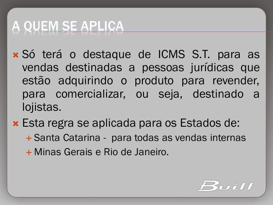 Só terá o destaque de ICMS S.T. para as vendas destinadas a pessoas jurídicas que estão adquirindo o produto para revender, para comercializar, ou sej