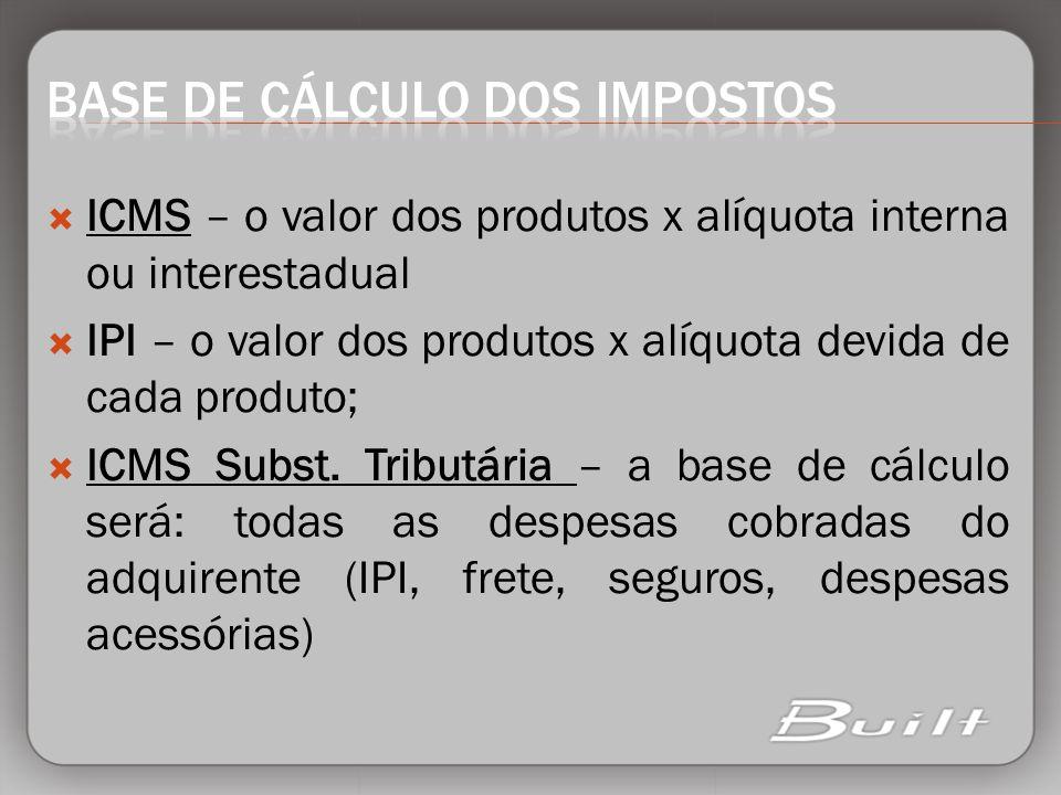 ICMS – o valor dos produtos x alíquota interna ou interestadual IPI – o valor dos produtos x alíquota devida de cada produto; ICMS Subst. Tributária –