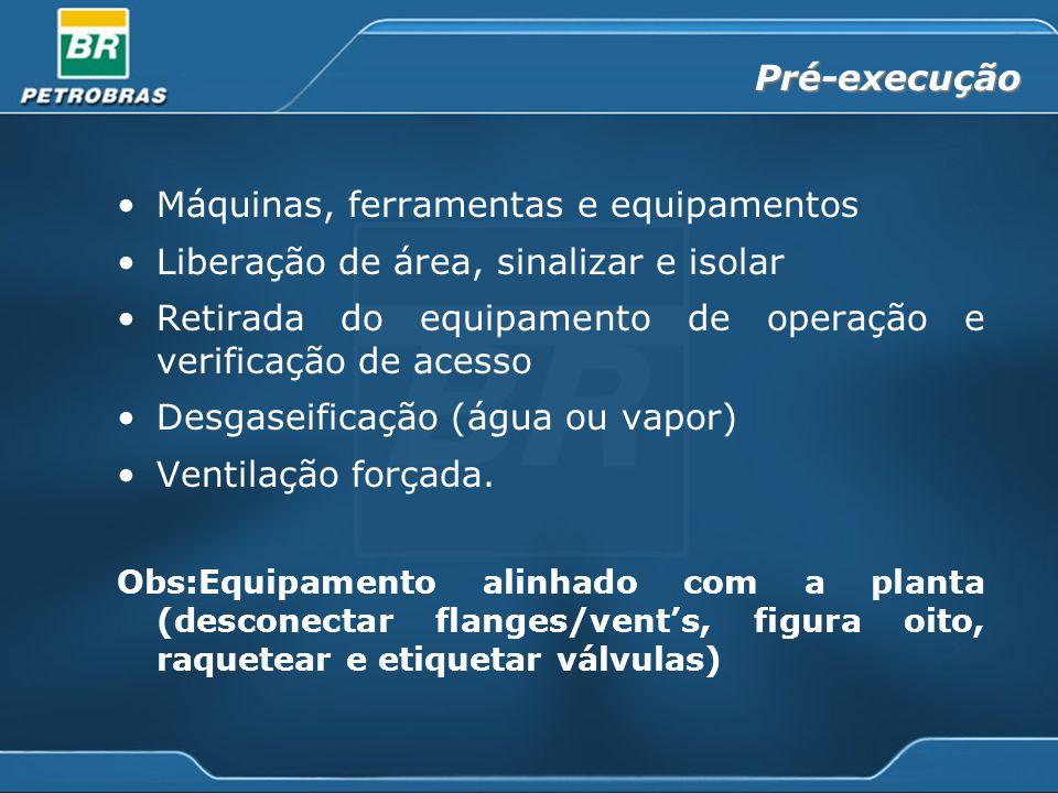 Pré-execução Máquinas, ferramentas e equipamentos Liberação de área, sinalizar e isolar Retirada do equipamento de operação e verificação de acesso Desgaseificação (água ou vapor) Ventilação forçada.