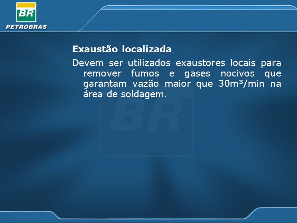 Exaustão localizada Devem ser utilizados exaustores locais para remover fumos e gases nocivos que garantam vazão maior que 30m³/min na área de soldage