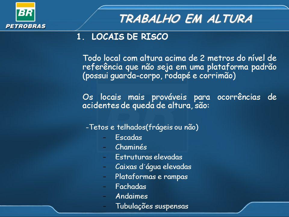 1. LOCAIS DE RISCO Todo local com altura acima de 2 metros do nível de referência que não seja em uma plataforma padrão (possui guarda-corpo, rodapé e