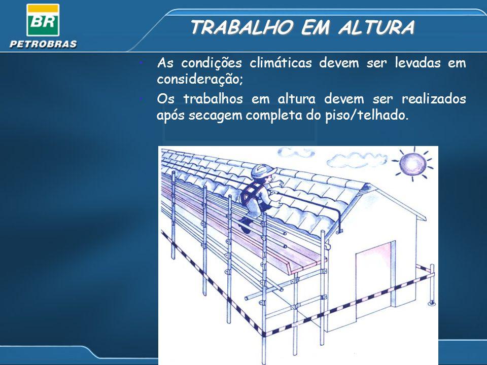 TRABALHO EM ALTURA As condições climáticas devem ser levadas em consideração; Os trabalhos em altura devem ser realizados após secagem completa do piso/telhado.
