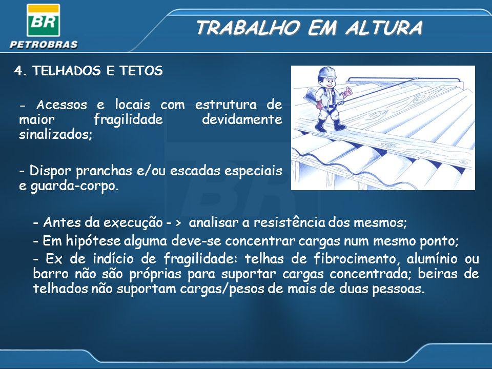 TRABALHO EM ALTURA 4. TELHADOS E TETOS - A cessos e locais com estrutura de maior fragilidade devidamente sinalizados; - Dispor pranchas e/ou escadas
