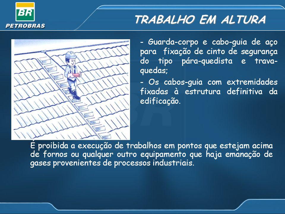 TRABALHO EM ALTURA É proibida a execução de trabalhos em pontos que estejam acima de fornos ou qualquer outro equipamento que haja emanação de gases provenientes de processos industriais.