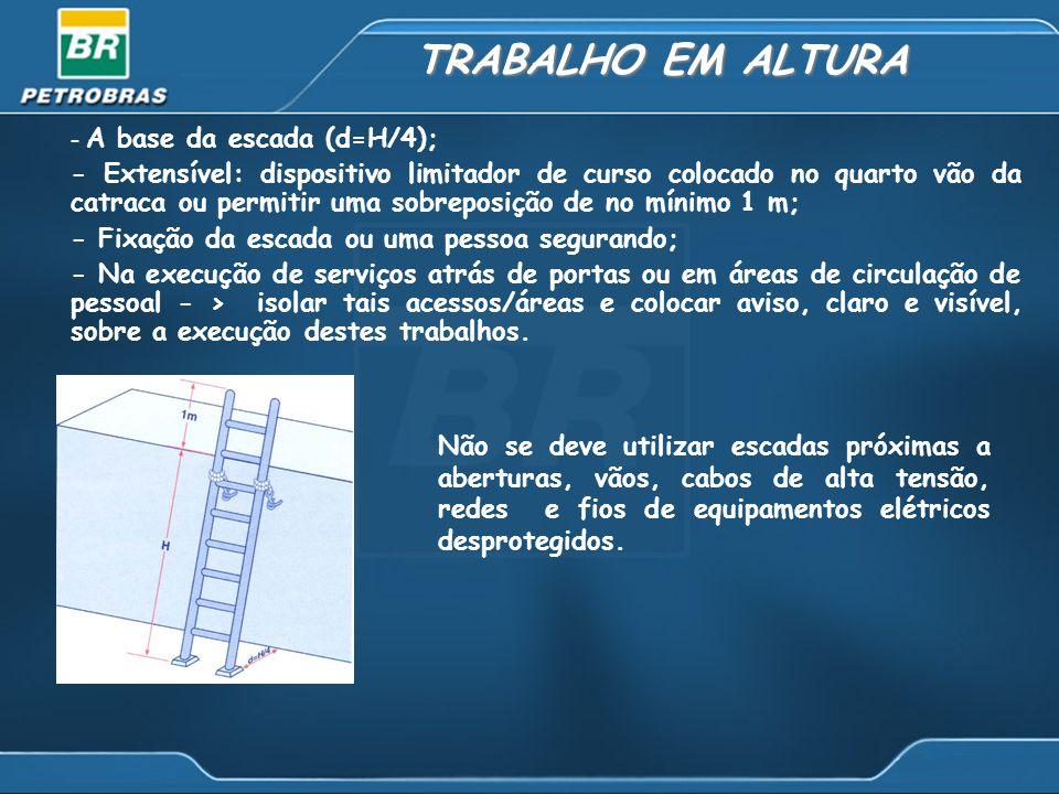 TRABALHO EM ALTURA - A base da escada (d=H/4); - Extensível: dispositivo limitador de curso colocado no quarto vão da catraca ou permitir uma sobrepos