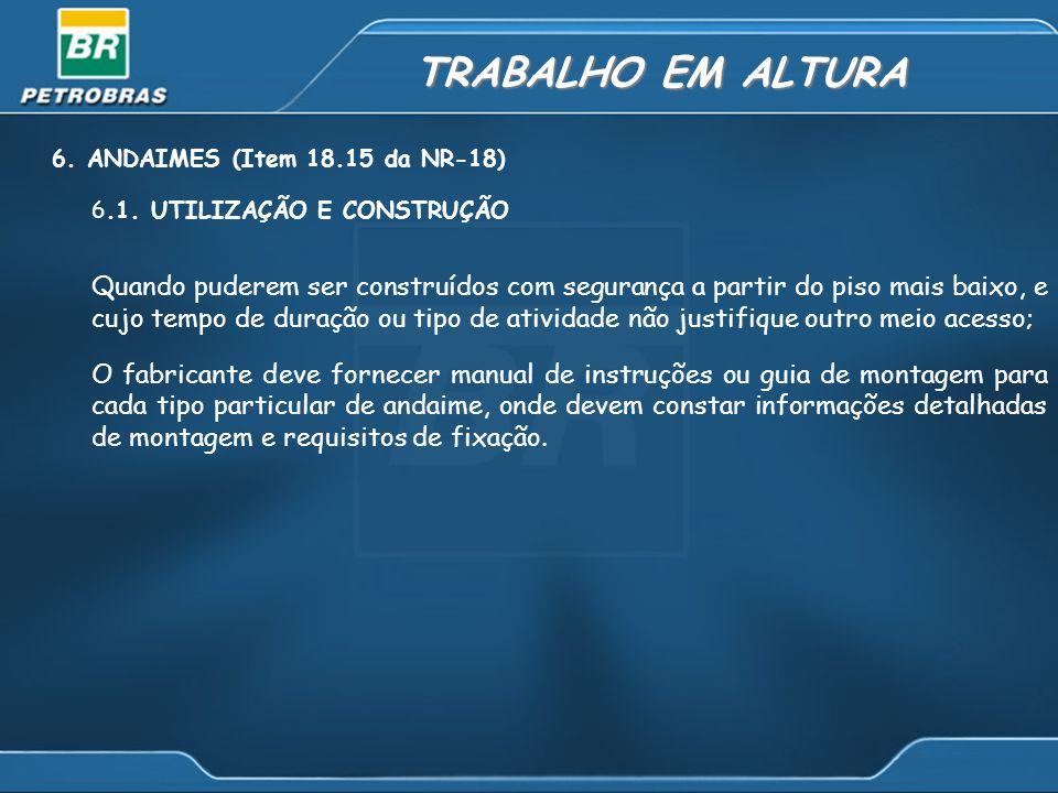 TRABALHO EM ALTURA 6.ANDAIMES (Item 18.15 da NR-18) 6.1.