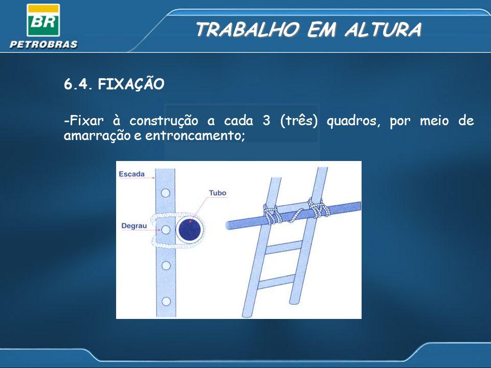 TRABALHO EM ALTURA 6.4. FIXAÇÃO -Fixar à construção a cada 3 (três) quadros, por meio de amarração e entroncamento;