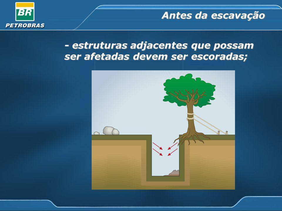- estruturas adjacentes que possam ser afetadas devem ser escoradas; Antes da escavação