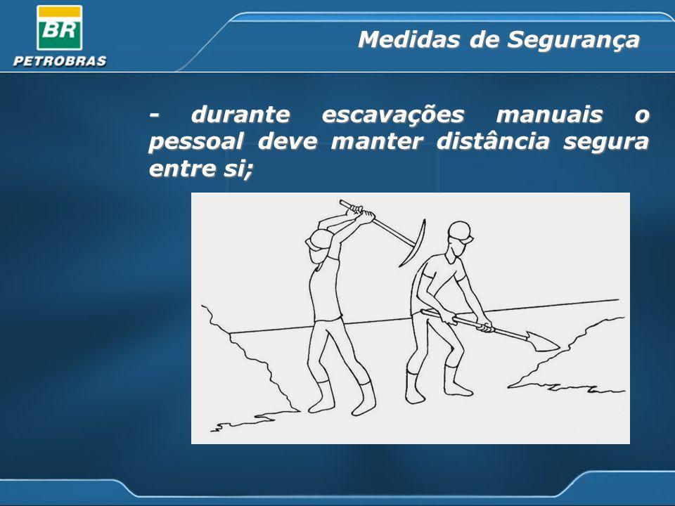 - durante escavações manuais o pessoal deve manter distância segura entre si; Medidas de Segurança